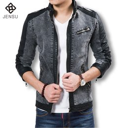Barato Chaqueta Denim Hombre-Atacado- 2016 Boutique Denim Leather Jacket Marca Best Quality Men Leather Jacket Moda Denim Casacos Slim Fit Men Chaqueta Hombre