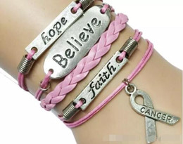 wholesale faith bracelets Australia - TOP new 20pcs 7 Colors Multilayer Leather Rope Handmade Pink Breast Cancer Ribbon Bracelet with Word Hope Faith Believe DIY handmade jewelry