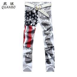 805834ec760ec Fashion Flags england online shopping - Big size Brand Men s pants New  White Printed Fashion