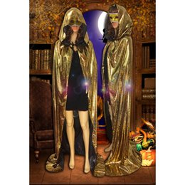 Barato Traje De Fantasia De Ouro-ostumes Acessórios Cosplay Costumes Adult Gold Sliver Purple Hoody Cloak Costume For Man Mulher Halloween Fancy Dress Party Cape Cospla ...