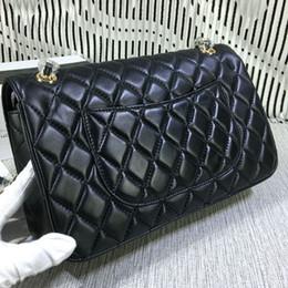 Ingrosso Vendita calda di alta qualità classica 30cm doppia patta borsa in pelle di vacchetta vera pelle designer spalla catena tracolla 12 colori