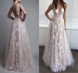 Barato Vestidos De Comprimento Modesto-New Sexy Full Lace Prom Dresses 2018 V Neck Backless A Line Champagne Pavimento Length Tulle Modest Berta Evening Party Páginaant Vestidos Custom