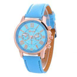 China 100pcs fashion Rose Gold Women Dress Watches Luxury bracelet Geneva Roman Numerals Faux Leather Analog Quartz Wrist Watches Steel Watches suppliers