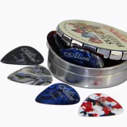 ElEctric guitar shipping box online shopping - 12pcs Alice Acoustic Electric Guitar Picks Plectrums Round Metal Picks Box Case