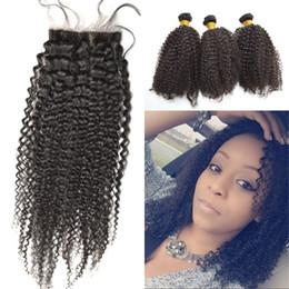 Afro Kinky Human Hair Virgin NZ - Indian Virgin Hair Afro Kinky Curly Silk Base Closure with Bundles 100% Human Hair with Silk Closure 4 pcs lot FDSHINE