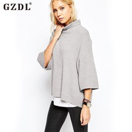 Ladies Stylish Sweater Canada - Wholesale-Stylish Women Sweater 3 4 Sleeve Turtleneck Lady Kintted Tops Spring Autumn Sweater Casual Loose Blouse Pullover Pull Femme 2328