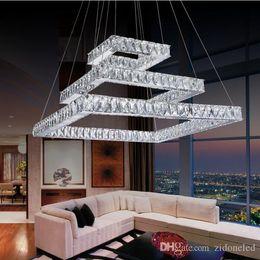 Modern Led Crystal Chandeliers Rectangle Crystal Pendant Light Hanging Lamp Indoor Pendant Lighting Suspension Luminaire Suspendus Lustre Rectangle Dining