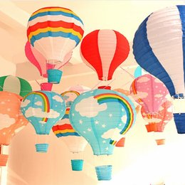 red black paper lanterns 2019 - 40cm Rainbow Hot Air Balloon Paper Lantern Kids Birthday Party Christmas Wedding Decoration Bar Stage Mall Nursery Corri