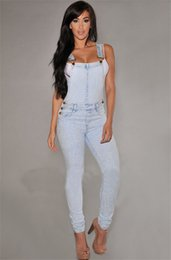 Jeans Léger En Jean Denim Pas Cher-Vente en gros - Femmes Filles Robes lavées Denim Casual Hole Loose Jumpsuit Romper Overall Pants Sexy Bandage Light Color Jumpsuit