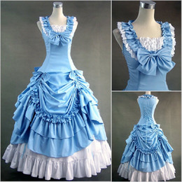 Tempérament Des Dames Pas Cher-Fashion Lady Temperament Lotus Leaf Imprimé Poplin Lolita Ball Gown U Collar Plissé Robe de bal 2017 Sans manches Photo réelle