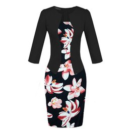 $enCountryForm.capitalKeyWord Canada - Elegant office lady pencil dress false two piece suit women work dresses long sleeve coat floral print skirts with belt plus size ML-402