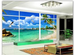 Fashion Decor Home Decoration Window Outside The Beautiful Natural Sea View 3D Stereo TV Wall