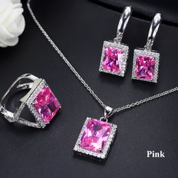 green square crystal earrings Canada - Luxury Jewelry Set for Party 18K White Gold Plated Square CZ Earrings Necklace Ring Set for Women 6 Colors for Options LY-034