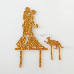 Cat wedding cake toppers nz buy new cat wedding cake toppers wholesale glitter silver gold bride and groom cat acrylic wedding cake topper wedding cake top decoration shining decoration supplies junglespirit Choice Image