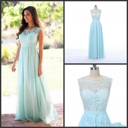 bridesmaid real picture UK - New Lace Chiffon Country Style Beach Bridesmaid Dresses Formal Gowns The real picture Cheap Coral Mint Green Long Junior Bridesmaid Dress