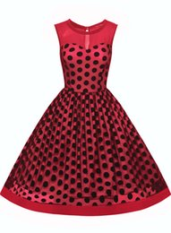 $enCountryForm.capitalKeyWord Canada - Women's Vintage Sleeveless Chiffon See Through Round Neck Polka Dot Net Yarn Party Evening Elegant Swing Dress
