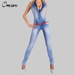 32ad8e9bddf Wholesale- 2015 Rompers Womens Jeans Jumpsuit Sexy Bodycon washed white  Pockets Overalls Denim Sleeveless Club Wear Jumpsuits S-XL QL1899