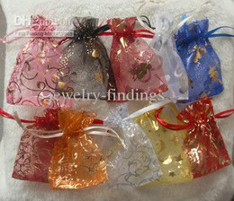 Organza vOile gift packaging bags online shopping - 100pcs cm Patterns Luxury Organza Jewelry Bags Christmas Wedding Voile Gift Bag Drawstring Jewelry Packaging Gift Pouch