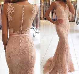 Robe Rose À Dos Pas Cher-2017 New Sexy V Neck Illusion Lace Appliques Beaded Blush Pink Mermaid Long Sheer Back Robe de soirée formelle Robes de soirée