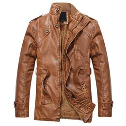 Wool Leather Motorcycle Jacket Canada - 2016 winter fashion brand men Fleece Thick warm jacket men luxury PU motorcycle Leather & Suede slim jacket zipper black blue
