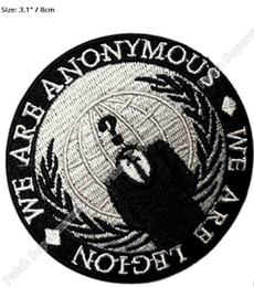 EmbroidEriEd patchEs online shopping - 3 quot The Anonymous We are legion patch Iron On Badge TV Movie Series cosplay Embroideried Halloween Costume party favor