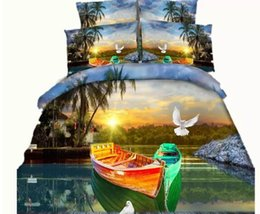 3d Printed Bedding Sets Canada - 8 Styles Coconut Tree Boat 3D Printed Bedding Sets Twin Full Queen King Size Bedspreads Bedclothes Duvet Covers Butterfly Dove Animal