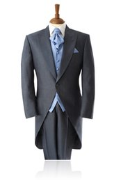 Manteau À Manches Minces Pas Cher-Vente en gros - Light Bule Vest Tie Grey Costumes Veste Hommes Costumes 3Pieces Swallow-Tailed Coat Mode Ligh Quality Cheaper Slim Fit TernoMasculino