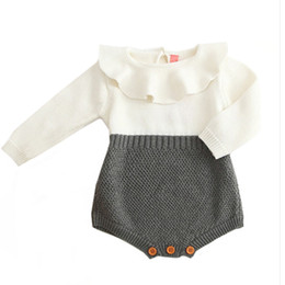 baby girls tutu princess rompers 2019 - Baby Boys Infant Rompers Baby Girls Long Sleeve Jumpsuits Ruffles Princess Girl Sweet Knitted Overalls Infant Romper che