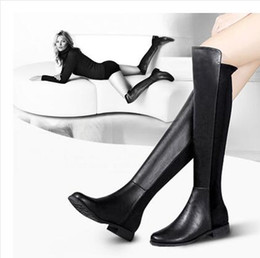 Chinese  Tops quality Autumn Winter New Arrived Elegant Classic Genuine Leather Velvet Warm Flat Heel Sexy Knee Long Boots Plus Size manufacturers
