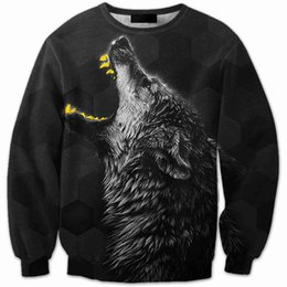Barato Hoodies De Pulôver Gráfico Para Homens-Wholesale-6 Patterns Winter Men Sweatshirts 3D Animal Cool Wolf Graphic Hoodies pretos Manga comprida Manga confortável M 4XL 5XL 6XL