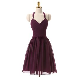 $enCountryForm.capitalKeyWord UK - Halter Neck Chiffon Short Bridesmaid Dress Beach Grape Purple 2017 Knee Length Wedding Party Dress Custom Made