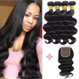 $enCountryForm.capitalKeyWord Canada - Unprocessed Brazilian Body Wave Human Hair Wefts 4 bundles with Closure Peruvian Malaysian Indian Remy Ponytail Hair Extensions New Arrival