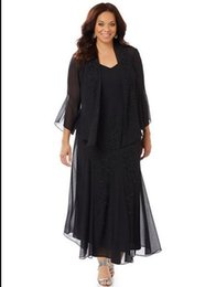 $enCountryForm.capitalKeyWord UK - New Arrival A Line V Neck Ankle Length Chiffon Black Mother Of The Bridal Long Sleeve Jacket Dresses Appliques Low Price Mother Gowns