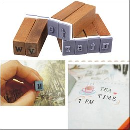 alphabet letter stamps NZ - 70Pcs set Vintage Upright Type and Cursive Characters Alphabet Letter Number Symbol Rubber Stamps with Wood Box