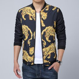 leopard print motorcycle 2019 - Wholesale- New Design Flower Leopard Printing Jacket Men Fashion Slim Fit manteau homme Outer Motorcycle Mens jackets an
