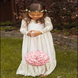 Christmas Bows For Little Girls Canada - Flower Girl Dresses Long Sleeves with Bow Princess Wedding Party Dress Communion Pageant Dress for Little Girls Kids Children Dress