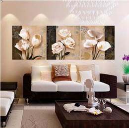 Discount modern abstract flower paintings - 3 Panels Painting Wall Hanging Canvas Picture Paint Modern living room Decorative red flower Home Decor vertical paintin