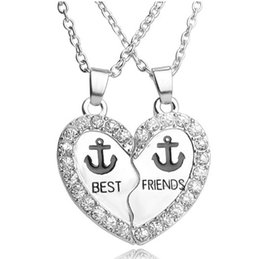 Unique Best Friend Jewelry UK - Best Friends Anchor Necklace Set Silver Plated Rhinestone Embellished Necklaces Gift Idea Unique Jewelry Chokers Necklaces