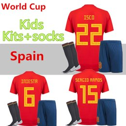 kids soccer jerseys spain NZ - Spain kids Jersey 2018 ISCO PIQUE SERGIO RAMOS A. INIESTA M. ASENSIO THIAGO MORATA home soccer shirt Football uniforms sales Spain kits
