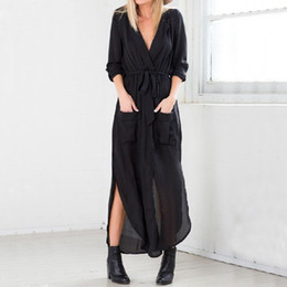 Lycra V Cou Manches Longues Pas Cher-Women Elegant Dress 2017 Automne V Neck Long Sleeve Longueur au sol Casual Loose Solid Maxi Long Dress Vestidos