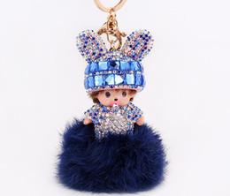 $enCountryForm.capitalKeyWord UK - Cartoon doll rabbit ears keychains with crystal diamonds 5 colors hairball keychains Chic girls bag pendant BT11