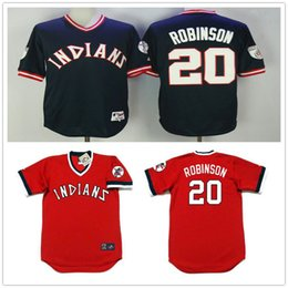 7c44c924870 ... 2017 Newest Cheap 20 Frank Robinson Men Jerseys Cleveland Indians  pullover Navy blue red Cool Base ...
