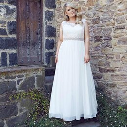 $enCountryForm.capitalKeyWord Canada - Plus Size Wedding Dresses Vintage Scoop Neck A-Line Custom Beaded Sash Bridal Gowns Lace Applique Sweep Train Chiffon Crystals Bridal Gowns