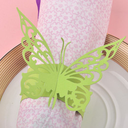 green napkin holder 2019 - Wholesale- 2015 New Chic 60pcs Green Paper Butterfly Napkin Rings Wedding Decoration Holder Bridal Shower Favor discount
