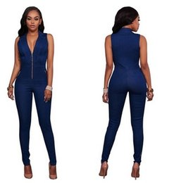 Barato Manga Longa Denim-Jeans Mulher Jumpsuits Denim Long Pants Sexy Deep V Neck Slim Macacão Jumpsuit Girl Sleeveless Club Wear Bodysuit Romper Zipper Dungarees