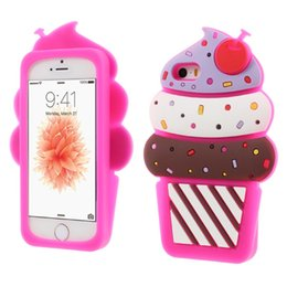China 3D Cute Cherry ice cream Soft Silicone Phone Cover Back Case For Iphone 5s 6 6s plus 7 7plus Samsung S6 S6 edge S7 S7 Edge suppliers