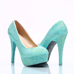 5 8 11 14cm cinderella shoes turquoise fully beaded bridal bridesmaid wedding shoes hand made prom evening party high heels 125