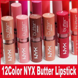 China NYX Butter Lipstick 12 Colors Batom Mate Waterproof Long-lasting Lipstick nyx Tint Lip Gloss Stick Brand Makeup Maquillage suppliers