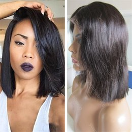 human hair lace wigs free shipping NZ - Short BOB Full Lace Wig 12inch Straight Human Hair Best Quality Glueless Lace Front Wig Free Shipping