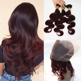$enCountryForm.capitalKeyWord Australia - 360 Lace Frontal With Bundles Two Tone Dip Dye Burgundy 99J Body Wave Ombre Human Hair Weaves Closure